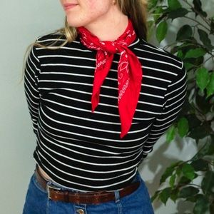 Tops - Super cute striped cropped turtleneck!